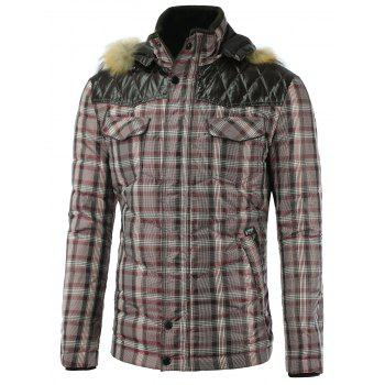 PU Splicing Hooded Plaid Quilted Jacket