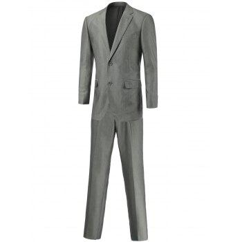 Slim-Fit Lapel Collar Flap Pocket Single Breasted Twinset Suit