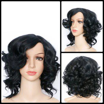 Buy Short Side Bang Asymmetric Curly Fascinating Synthetic Wig BLACK