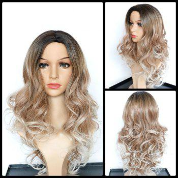 Buy Faddish Long Middle Part Wavy Multi Color Synthetic Wig COLORMIX