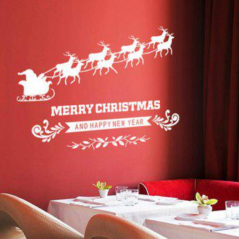 Merry Christmas Milu Glass Window Removable Wall Stickers