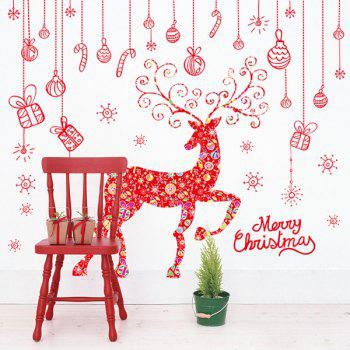Merry Christmas Red Milu Glass Window Removable Wall Stickers