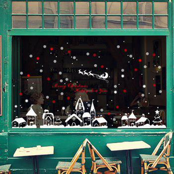 Christmas Snow Town Glass Window Removable Wall Stickers