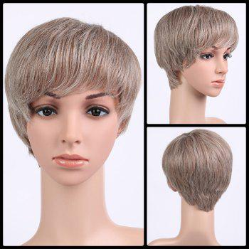 Buy Natural Straight Short Fluffy Neat Bang Synthetic Wig SHALLOW FLAXEN