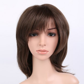 Silky Straight Shaggy Long Inclined Bang Synthetic Wig