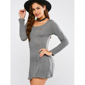 Tunic Cable Knit Mini Jumper Dress - GRAY S