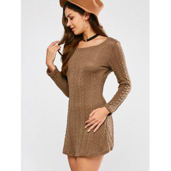 Tunic Cable Knit Mini Jumper Dress - CAMEL M
