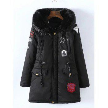 Plus Size Removable Fur Collar Padded Coat