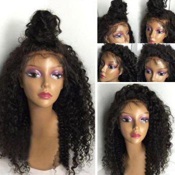 Shaggy Long Kinky Curly Lace Front Human Hair Wig - BLACK BLACK