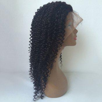 Shaggy Long Kinky Curly Lace Front Human Hair Wig - BLACK