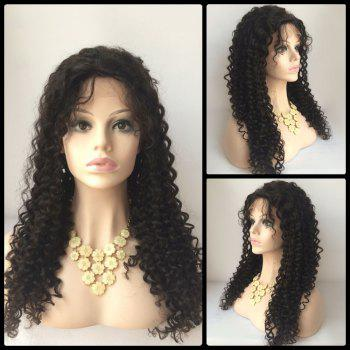 Buy Lace Front Curly Long Side Parting Human Hair Wig BLACK