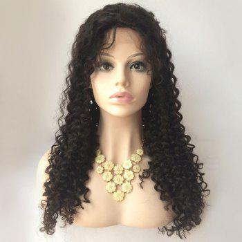 Lace Front Curly Long Side Parting Human Hair Wig -  BLACK