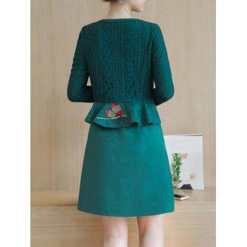 Lace Insert Suede Peplum Dress - M M