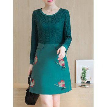 Lace Insert Suede Peplum Dress - DEEP GREEN M