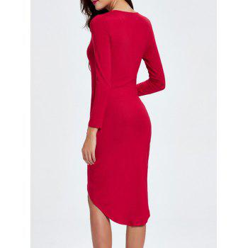 Plunging Neck Ruched Asymmetrical Work Christmas Party Dress - L L