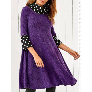 Polka Dot Patchwork A Line Smock Dress
