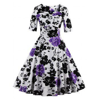 Vintage Sweetheart Neck Floral Print Pin Up Dress - PURPLE S