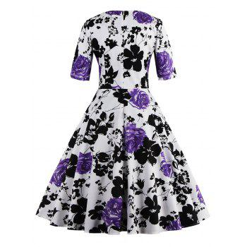 Vintage Sweetheart Neck Floral Print Pin Up Dress - S S