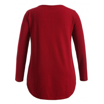 Plus Size Knitwear with Arc Hem - WINE RED XL