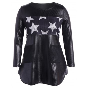 Faux Leather Stars Panel Tunic Top