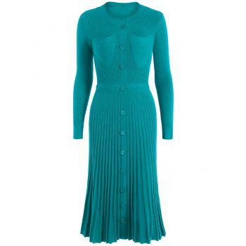 Long Knitted Jumper Dress With Buttons