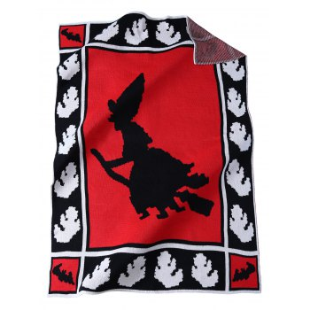 Keep Warm Witch Pattern Knitted Rectangle Blanket