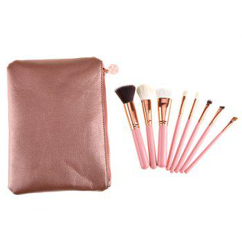 8 Pcs Goat Hair Makeup Brushes Set with Faux Leather Brush Bag