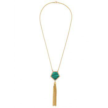 Faux Gemstone Tassel Sweater Chain