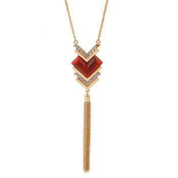 Rhinestone Heart Tassel Sweater Chain -  GOLDEN