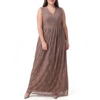 Plus Size Lace Long Princess Floor Length Modest Prom Dress