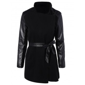 Belted High Collar Coat with Leather Sleeve