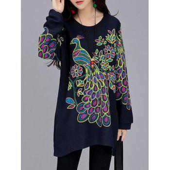 Peacock Print Loose-Fitting T-Shirt