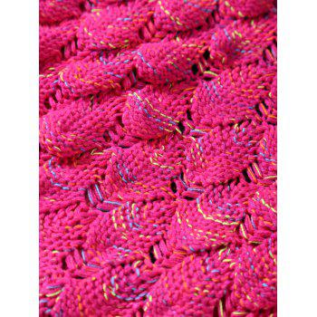 Openwork Fish Scale Design Knitting Mermaid Blanket For Kids - ROSE RED