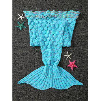 Openwork Fish Scale Design Knitting Mermaid Blanket For Kids - LIGHT BLUE