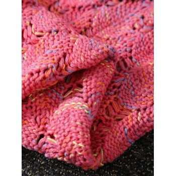 Openwork Fish Scale Design Knitting Mermaid Blanket For Kids - PEACH RED