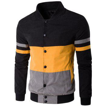 Snap Button Up Color Matching Striped Jacket