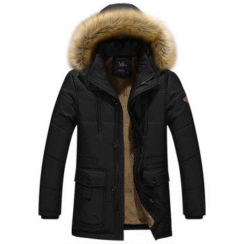 Buy Zippered Multi Pocket Faux Fur Hooded Flocking Jacket BLACK