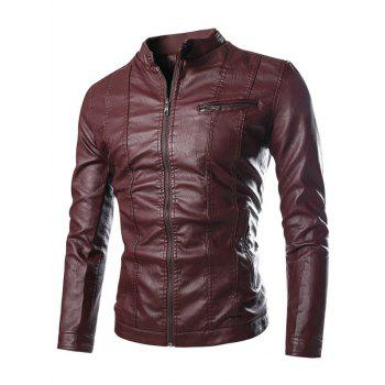 Stand Collar Zipper Embellished PU-Leather Flocking Jacket