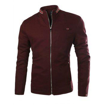 Stand Collar Stripe Selvedge Embellished Zip-Up Thicken Jacket - WINE RED WINE RED