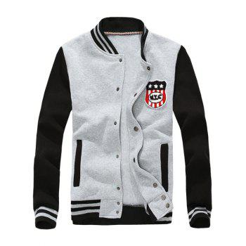 Badge Applique Striped Stand Collar Baseball Jacket