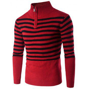 Buy Stand Collar Half Zip Striped Sweater RED