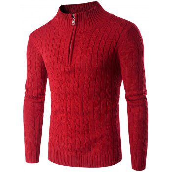 Buy Twist Stand Collar Half Zip Sweater RED