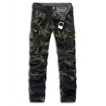 Buy Plus Size Slimming Pockets Embellished Camouflage Cargo Pants ARMY GREEN