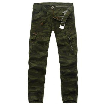 Buy Pockets Embellished Camouflage Plus Size Cargo Pants ARMY GREEN