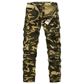 Pockets Embellished Camouflage Plus Size Cargo Pants