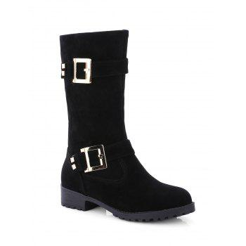 Flat Heel Double Buckle Zipper Mid-Calf Boots