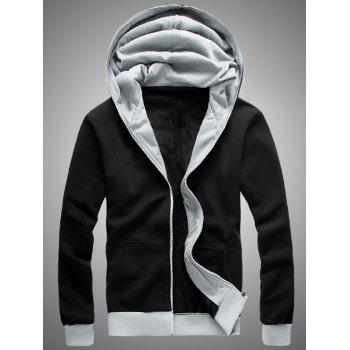 Color Block Splicing Hooded Zip-Up Fleece Hoodie