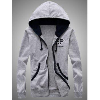 Color Block Splicing Hooded Zip-Up Embroidered Hoodie