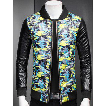 Stand Collar Plus Size Camouflage Zip-Up Padded Jacket