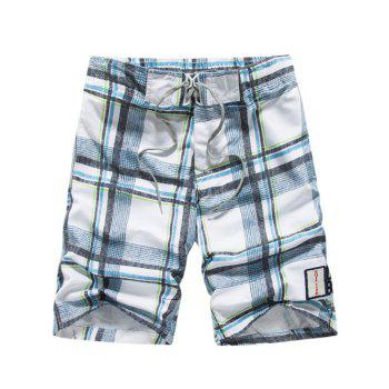 Lace-Up Tartan Pattern Straight Leg Shorts